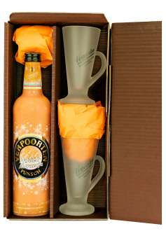 NEU: Geschenkset mit Eierpunsch:  0,75 L VERPOORTEN-Pfirsich-Maracuja Punsch 11 %vol,  inkl. 2 Eierpunsch-Gläser im braunen Geschenkkarton