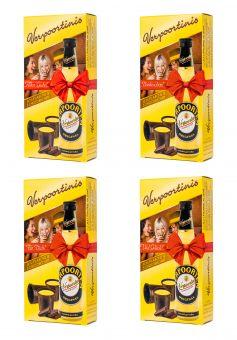 4 x VERPOORTINIS: 0,1 L Flasche VERPOORTEN ORIGINAL Eierlikör 20 %vol mit 5 Schokobechern