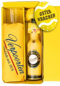Geschenkset mit Eierlikör 1 x 0,7 L Flasche VERPOORTEN ORIGINAL 20% vol & exklusive handbestickte VERPOORTEN-Schürze in schönem Verpoorten-Sonnengelb, inkl. 2 VERPOORTEN Designer-Kaffeegläser.