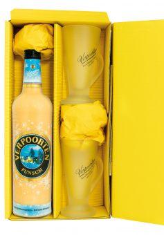 Geschenkverpackung mit Eierpunsch: 0,75 L VERPOORTEN Punsch 11 %vol, inkl. 2 Eierpunsch-Gläser