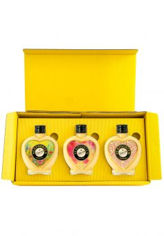 Herzflaschen Set im attraktiven Präsentkarton mit 3 x 0,2 L VERPOORTEN ORIGINAL Eierlikör 20% vol (Motive: Flower, Sun, Style)