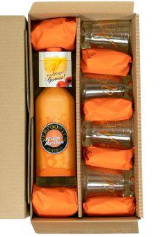 Likör-Geschenkset mit VERPOORTEN EDITION Pfirsich-Maracuja in der 0,5 L Flasche, inkl. 4 Likör-Editionsgläser.