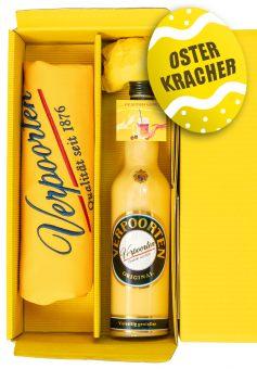 Geschenkset mit Eierlikör 1 x 0,7 L Flasche VERPOORTEN ORIGINAL 20% vol & exklusive handbestickte VERPOORTEN-Schürze in schönem Verpoorten-Sonnengelb.