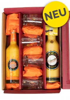 Likör-Geschenkset mit 0,7 L Flasche VERPOORTEN ORIGINAL & VERPOORTEN  EDITION Pfirsich-Maracuja in der 0,5 L Flasche, inkl. 4 Likör-Editionsgläser.